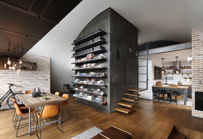 exemple meuble style industriel en bois brut et métal, comment aménager une salle à manger ouverte vers la cuisine