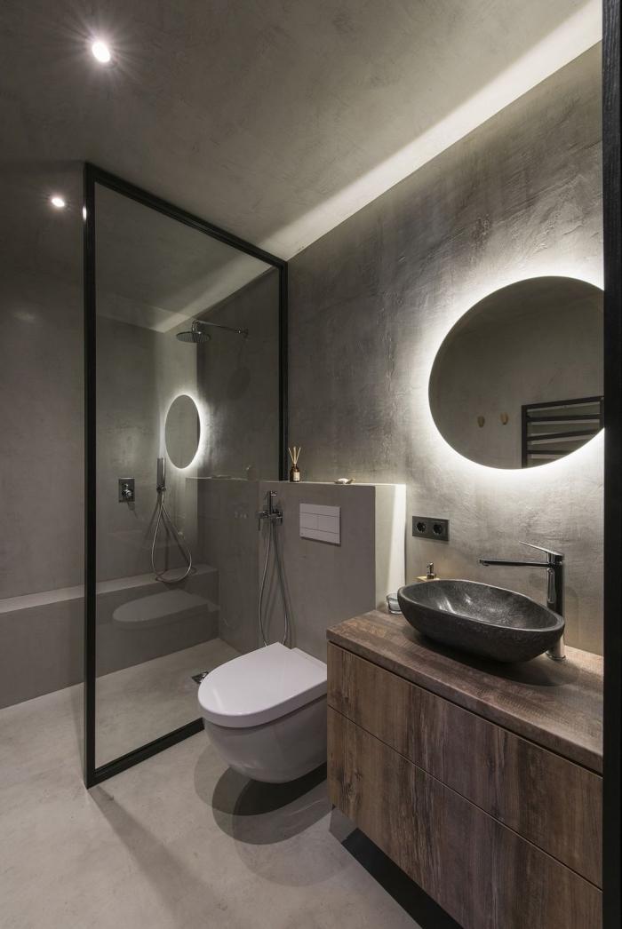 comment aménager une petite salle de bain moderne, idée peinture à effet béton, éclairage spot led dans salle de bain à deco industrielle