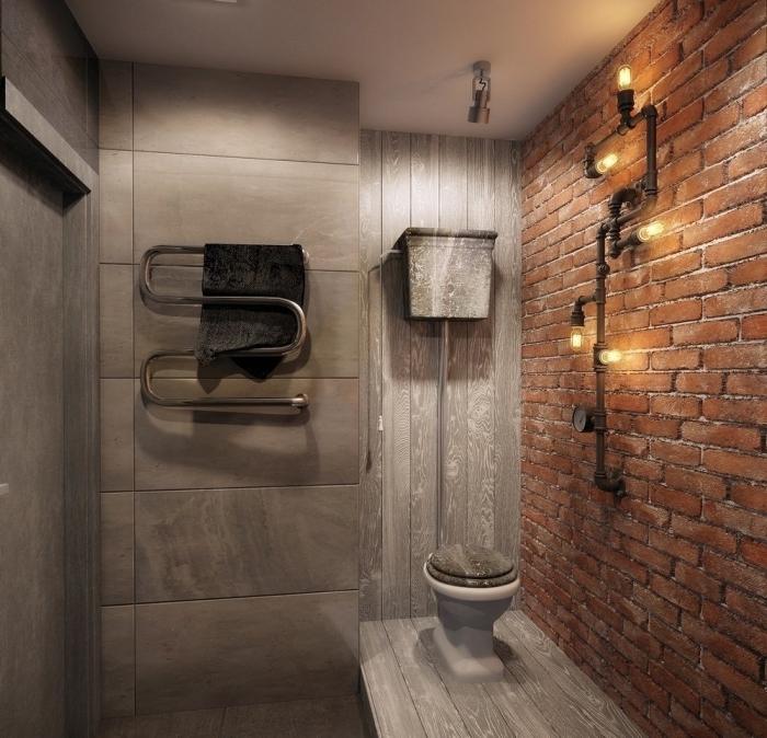 quelle deco murale industrielle pour salle de bain, revêtement mural en briques rouges pour salle de bain industrielle
