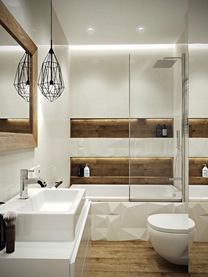 idee salle de bain petite surface en bois et blanc avec baignoire-douche encastrée, petite salle de bains au design scandinave épuré