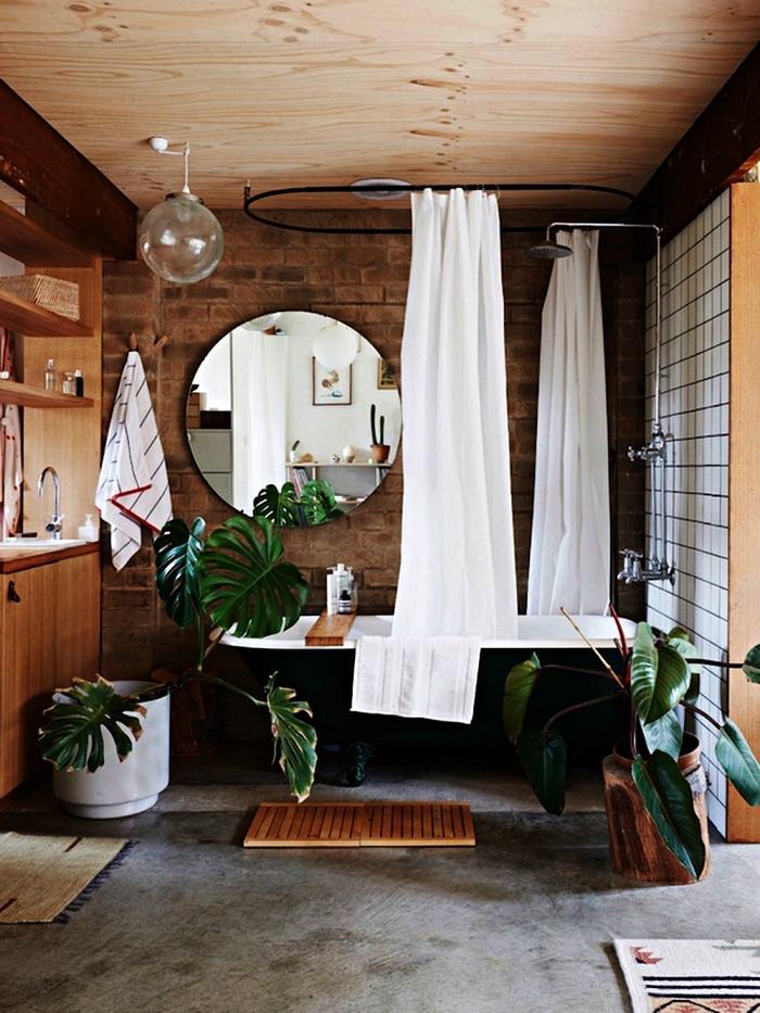 modele salle de bain vintage et nature en bois et briques avec baignoire sur pied noire et des plantes vertes