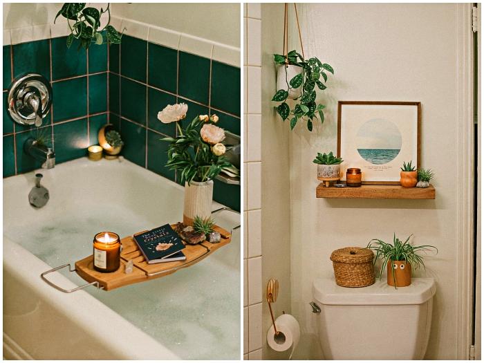 idee de salle de bain en vert et blanc d'ambiance bohèle, pont de baignoire décoré de bougies et de fleurs avec crédence en carreaux vert émeraude