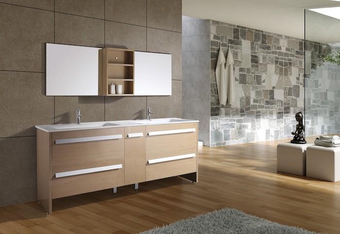 Deux lavabos, sculpture miniature pour déco, modele salle de bain, chouette idée pour la salle de bain en bois et blanc