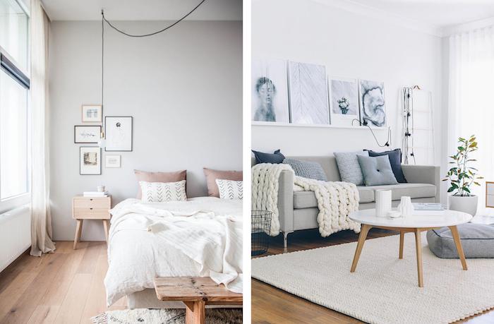 Appartement nordique déco, chambre za coucher blanc et bois, astuce rangement chambre, idée rangement vetement