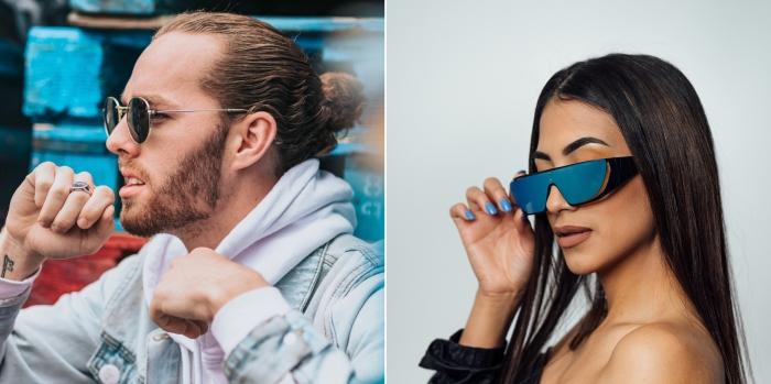 idées lunettes de soleil printemps 2019 pour homme, modèles lunettes solaires rondes avec monture fine et verre foncé
