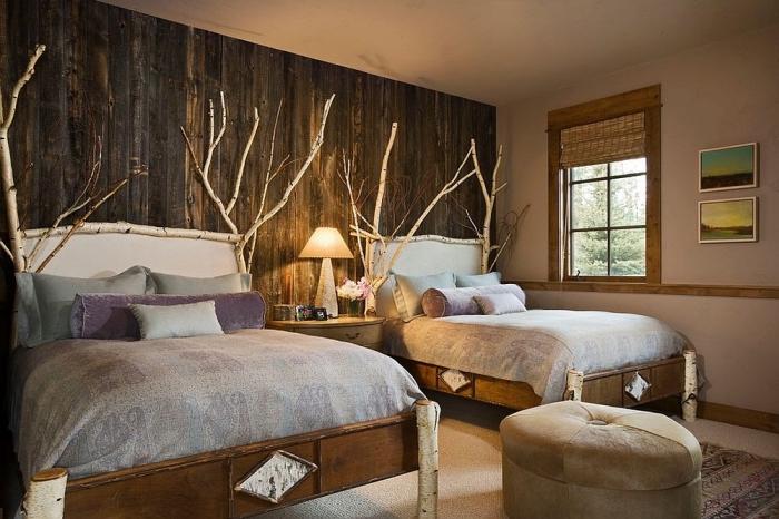 diy déco chambre rustique, comment réaliser une tete de lit originale avec bois flotté, meubles chambre en bois