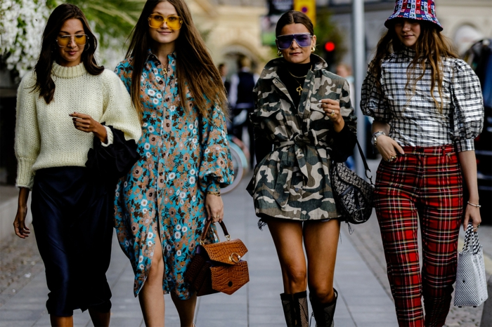 mode printemps 2019, pantalon carré, chemise carrée à manches volumineuses, robe fluide, veste militaire femme