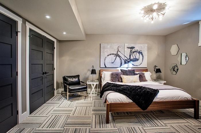 Bicyclette art sur le mur, etagere rangement pour la chambre à coucher, astuce rangement chambre