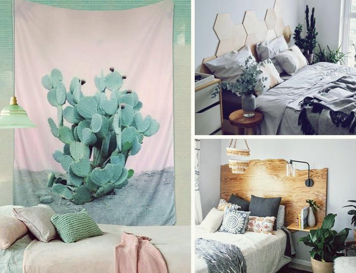 quels matériaux pour réaliser une tête de lit diy, tenture en rose et vert pastel aux motifs cactus, modèle tête de lit en bois