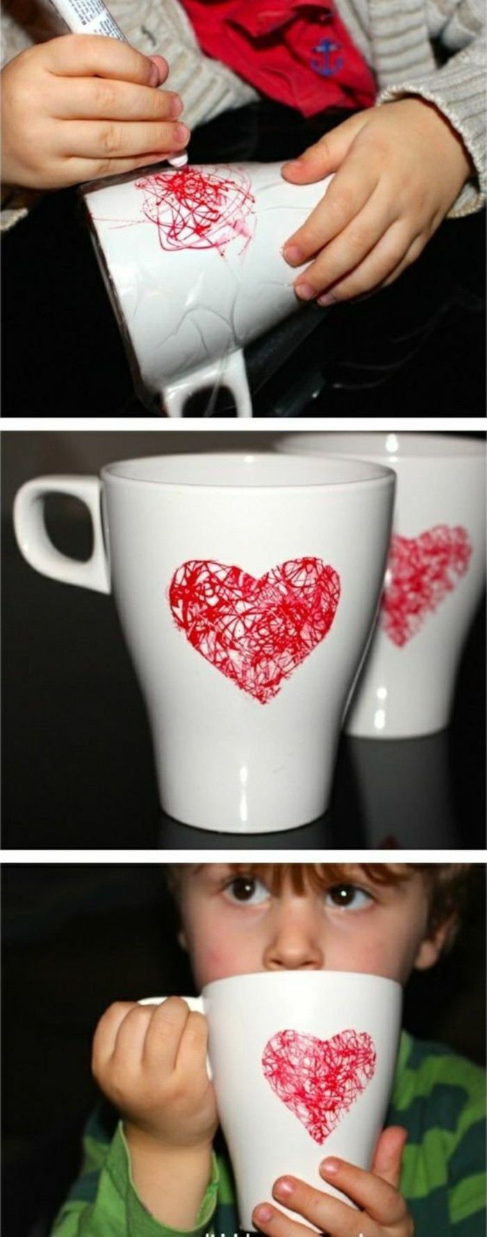 idée cadeau anniversaire maman, décorer une tasse de café avec peinture ou marquer, loisir créatif pour enfants