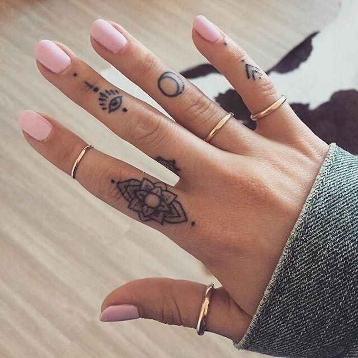 Mandala modele tatouage sur le doigt, idee dessin tatouage doigt, design original tatouage temporaire