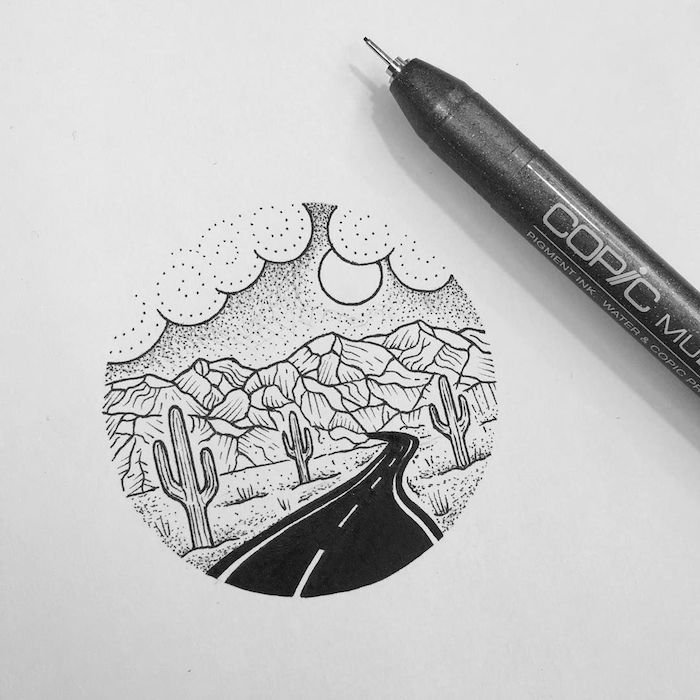 Route et montagnes usa trip, tatouage clavicule, tatouage dessin, design moderne et beau de tatouage