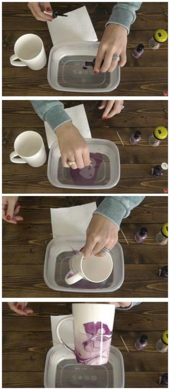 utiliser un vernis à ongles pour décorer une tasse café blanche, tutoriel loisir créatif, cadeau original pour sa meilleure amie