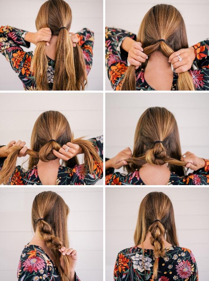 comment faire une tresse en noeuds pour réaliser ensuite un chignon tressé bas style boheme chic