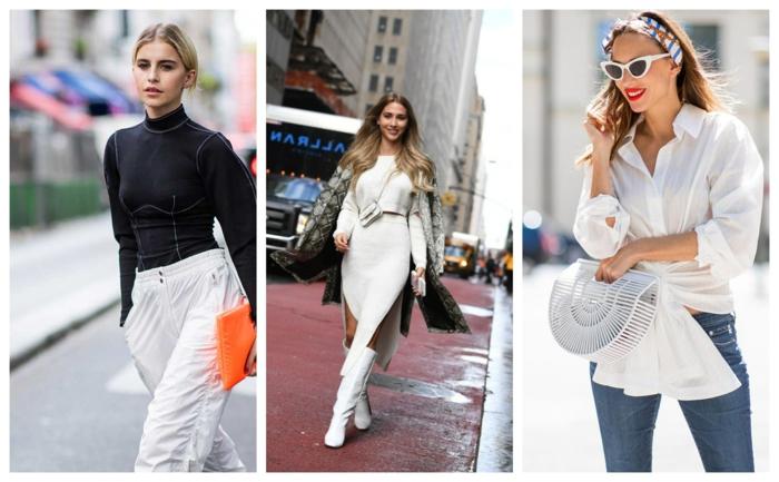 tendance printemps-automne 2019, pantalon blanc, sac orange, robe blanche fendue, chemise et jeans