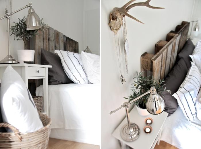 design intérieur de style minimaliste dans une chambre blanche avec parquet bois, modèle tete de lit palette