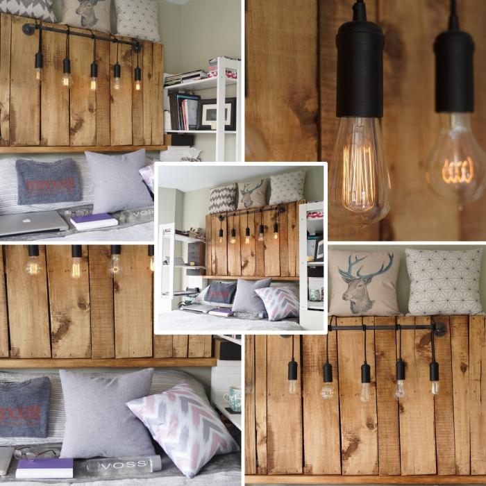 décoration de style industriel dans une chambre à coucher blanc et bois, diy tete de lit etagere en bois brut ou palette