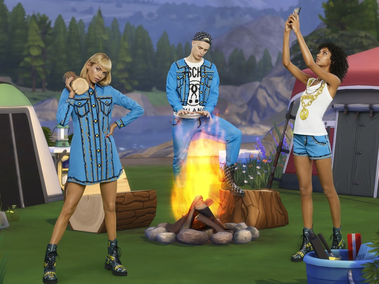 image du lookbook de la collection capsule Moschino X Les Sims et ses vêtements pixélisés