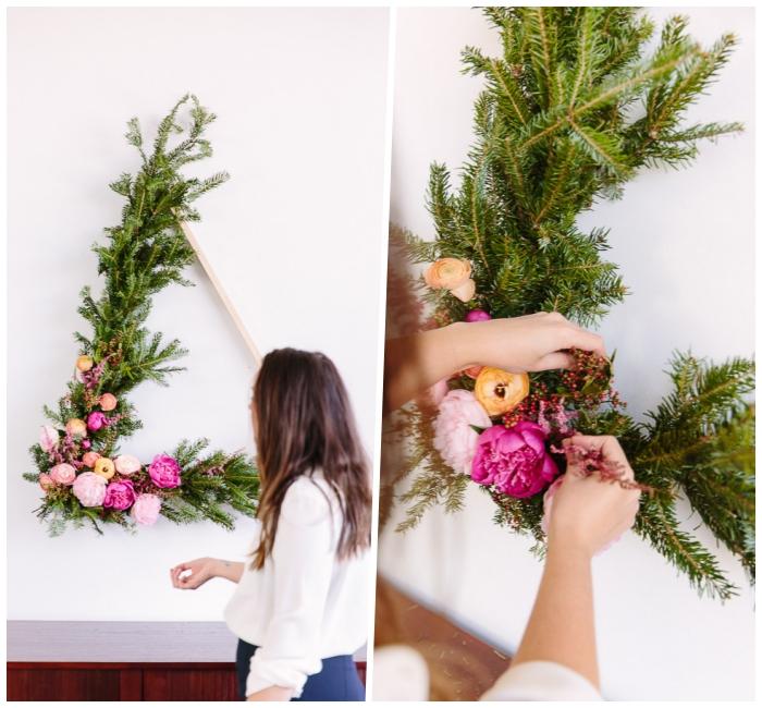 décoration murale triangle floral, bricolage de deco murale avec feuillage et fleurs