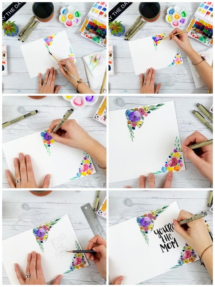 tutoriel pour personnaliser une carte anniversaire maman, carte de voeux avec dessins de fleurs à l'aquarelle et un joli lettrage manuscrit