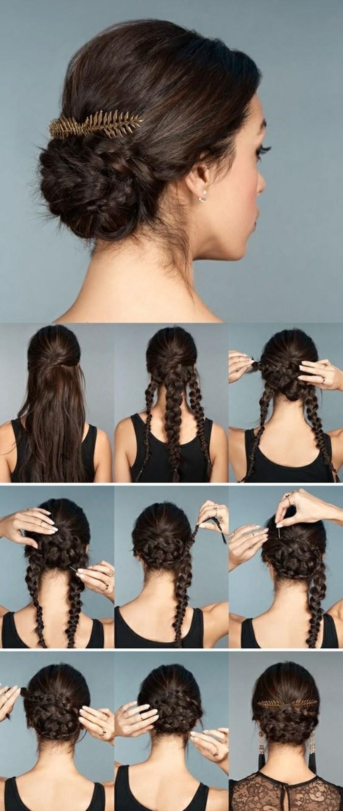 comment faire un chignon tressé à partir de trois tresses entrecroisés en arrière de la crâne, accessoire cheveux bijou plume