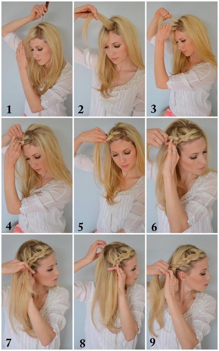 tutoriel avec instructions pas à pas pour réaliser une tresse couronne sur cheveux longs, coiffure avec tresse pour tous les jours