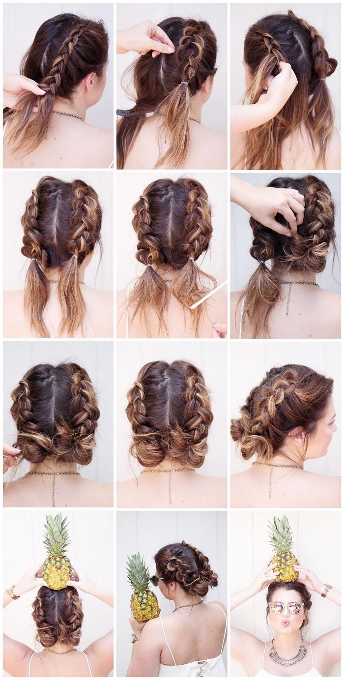 comment faire un chignon sur cheveux mi-longs, tuto coiffure pour réaliser un chignon à partir de deux tresses