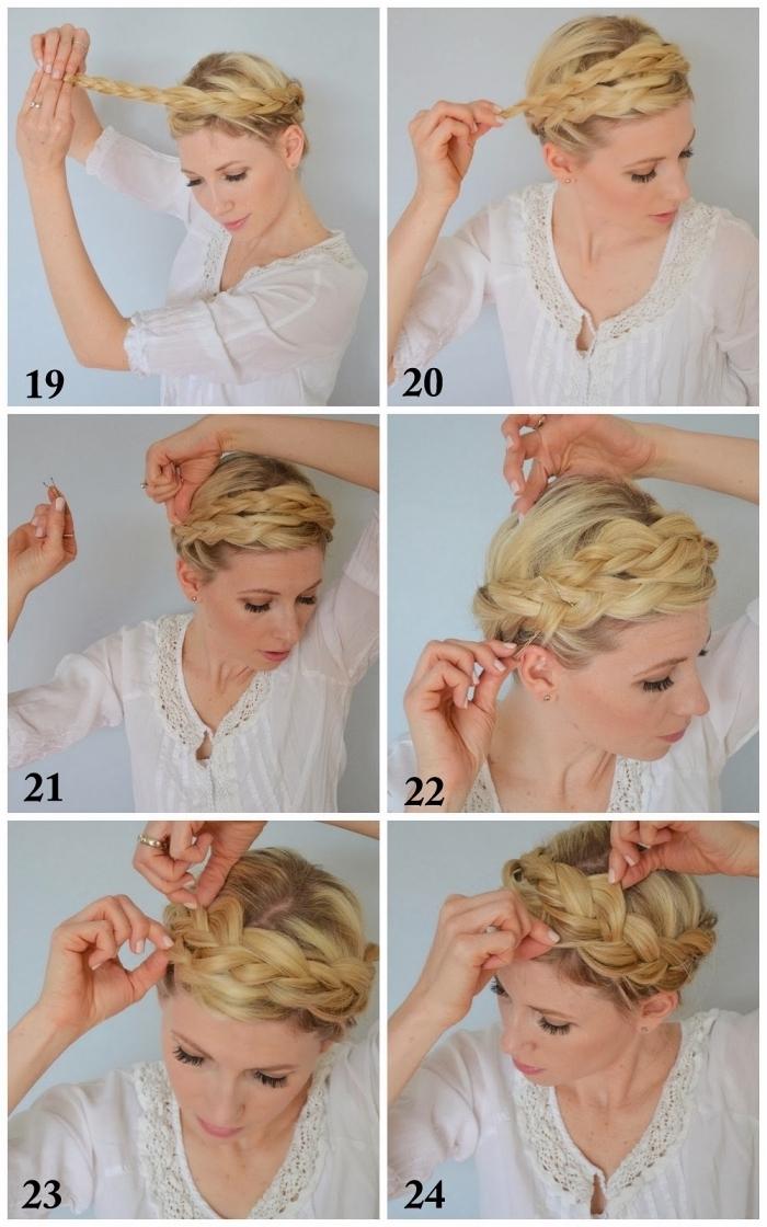 tutoriel pour apprendre comment faire une tresse couronne avec explications pas à pas, coiffure bohème chic avec tresse