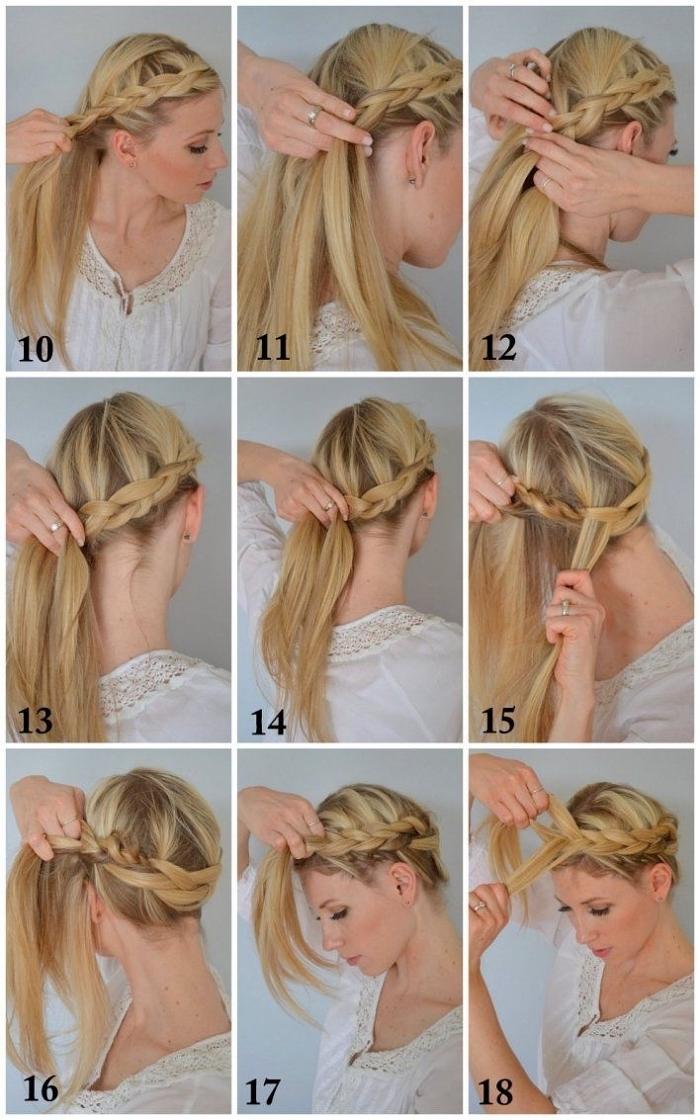 tutoriel pour réaliser une tresse couronne sur cheveux longs, idée coiffure facile pour l'été, coiffure femme bohème chic
