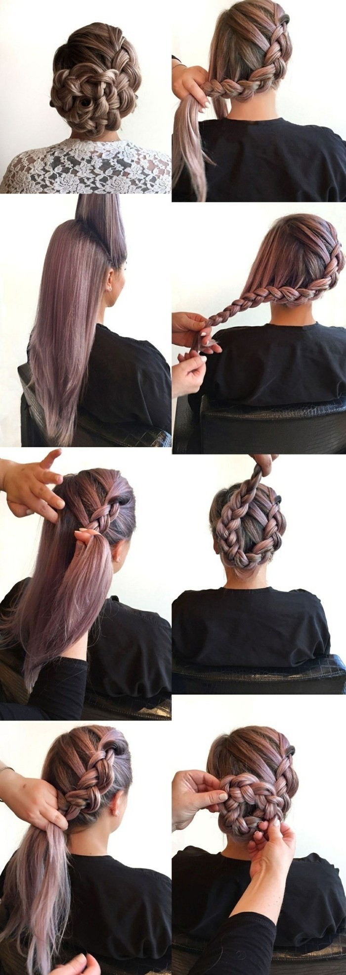 tresse de côté volumineuse transformé en chignon tressé, coiffure élégante et originale sur cheveux colorés en violet