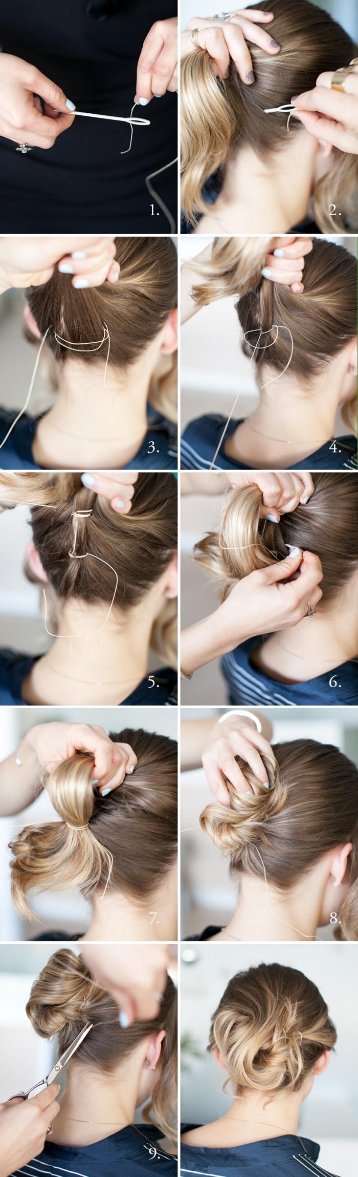 coiffure facile cheveux mi long avec un fil et aiguille, technique intéressante pour faire un chignon coiffé décoiffé
