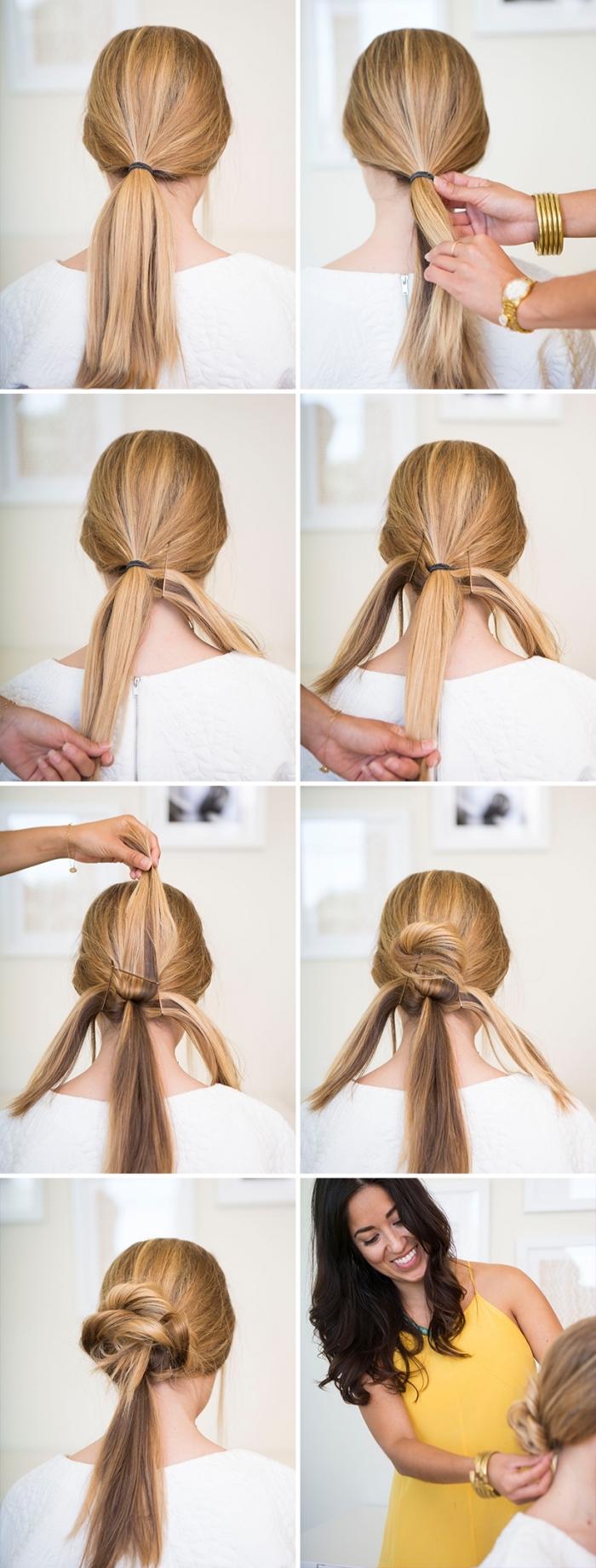 idée coiffure cheveux long, tuto coiffure pour faire un chignon bas volumineux à partir de trois queues de cheval