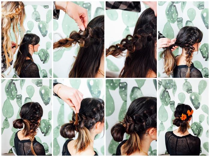 comment faire un chignon facile avec tresse sur le côté et queue-de-cheval floue, tutoriel avec explications pas à pas pour une coiffure romantique de style bohème chic
