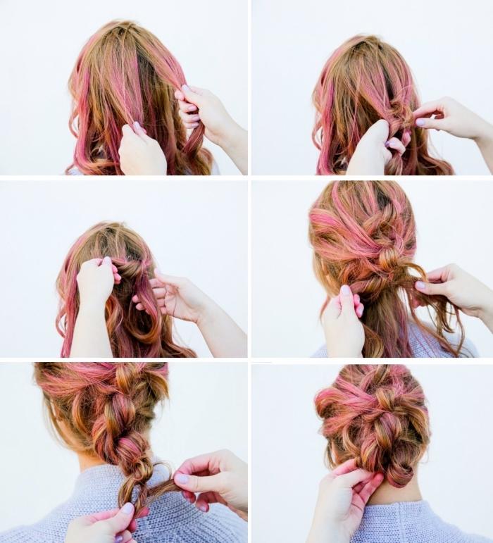 coiffure simple et rapide pour femme, chignon banane tressé réalisé sur cheveux chatain clair à mèches rose