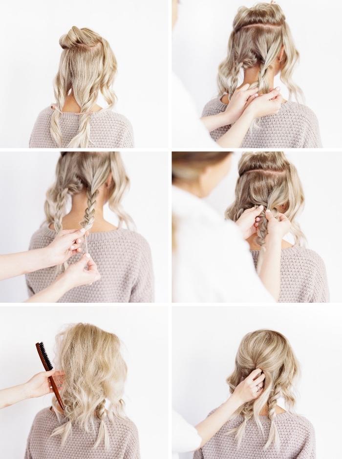 faire un chignon tressé bas à partir de trois tresses, coiffure facile a faire soi meme tutoriel simple