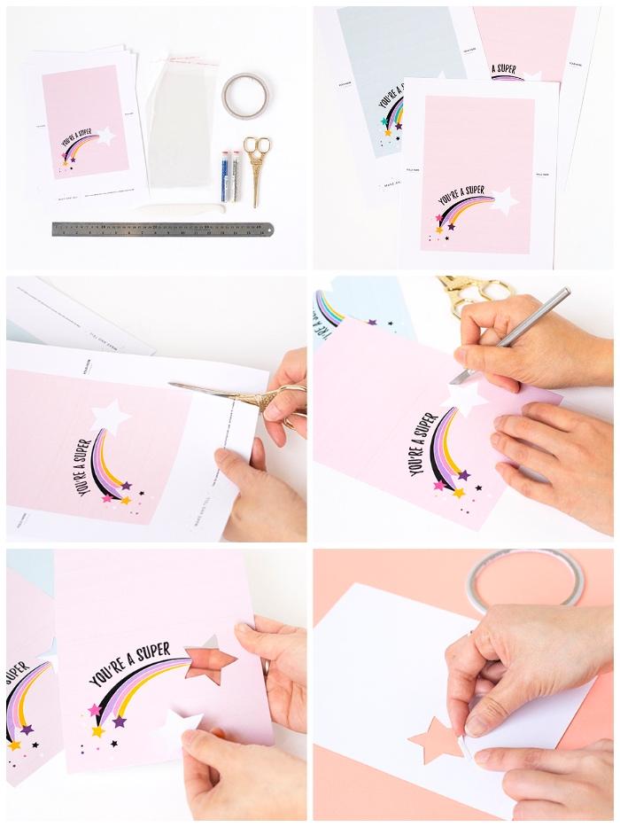 modèle de carte de voeux personnalisée à imprimer avec motif étoile filante à paillettes, créer carte anniversaire gratuite a imprimer avec photo étoile filante