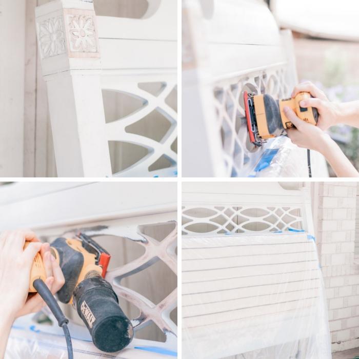 deco recup bois avec peinture, relooker une tête de lit avec tissu, étapes à suivre pour customiser une tête de lit bois
