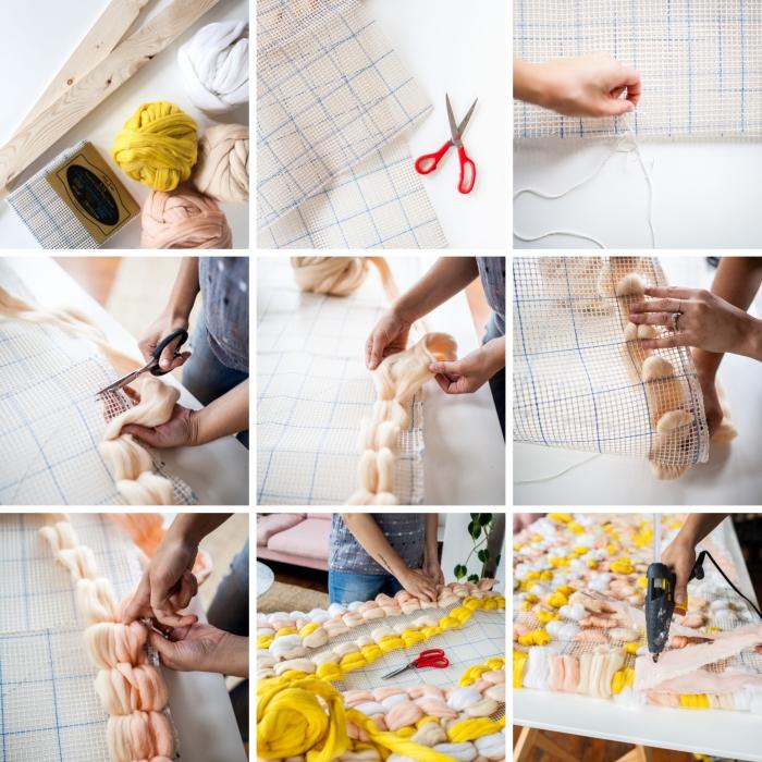 comment réaliser une tete de lit originale, technique de tressage facile avec morceaux de tissu, activité manuelle adulte