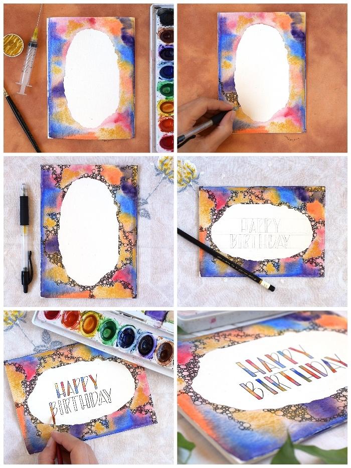 jolie carte fête avec bordure à l'aquarelle en nuances du bleu de de l'ocre, carte d'anniversaire faite-maison avec effet de tâches d'aquarelle