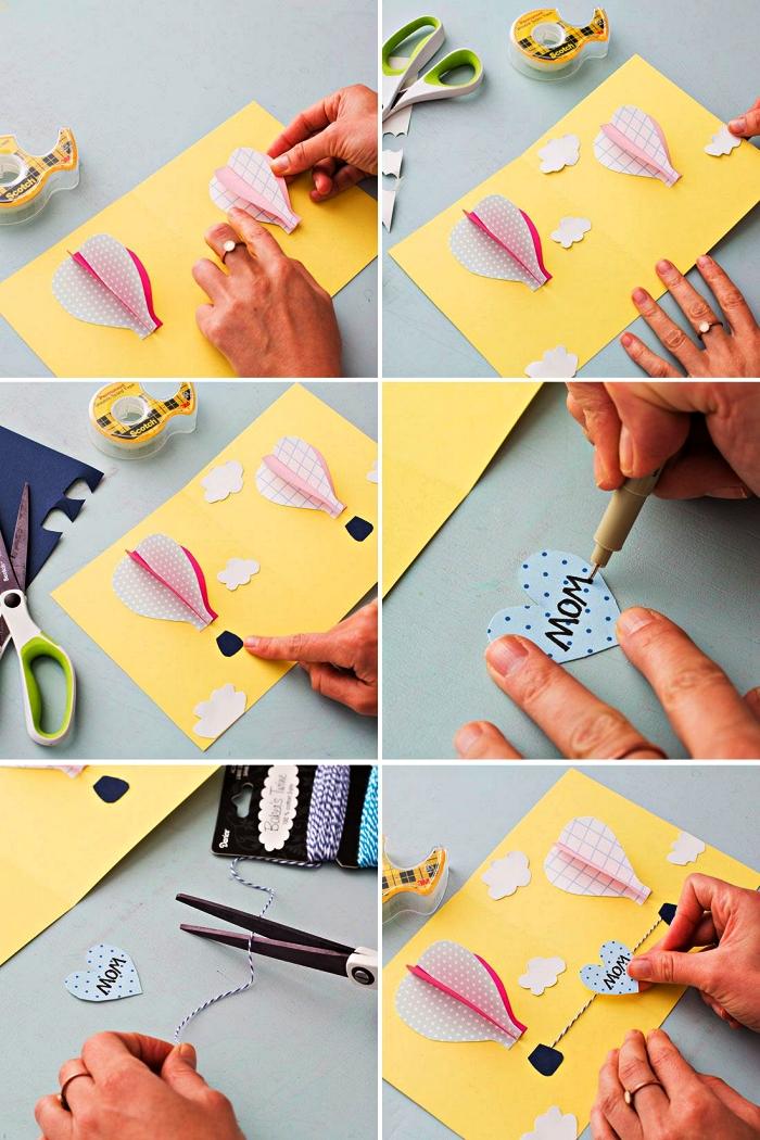 tutoriel pour le bricolage d'une carte fête des mères en maternelle, comment réaliser une carte montgolfières en 3d pour la fête des mères