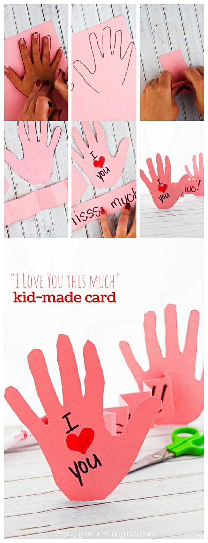une activité fête des mères facile et ludique à faire avec les enfants de la maternelle, carte en accordéon avec les empreintes de mains des enfants