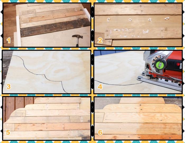 idee tete de lit en bois et palette, réaliser une tête de lit avec contreplaqué et lattes bois, tutoriel bricolage facile