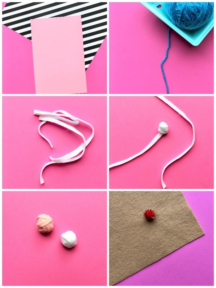 idée de carte d'anniversaire à faire soi même, tutoriel pour une carte de voeux à motif cornet à glace réalisé en feutre et en laine