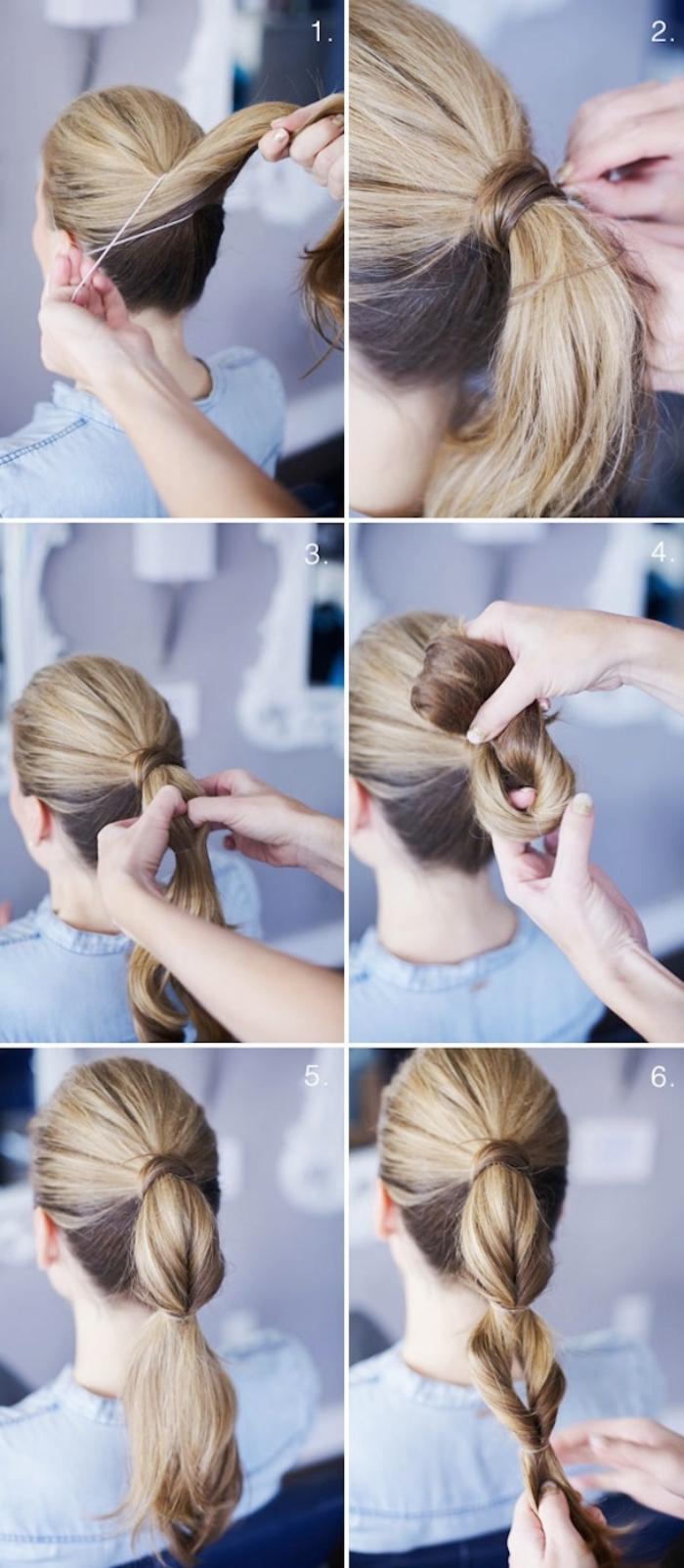 queue de cheval serré à quelques endroits avec élastique, coiffure facile a faire et originale pour femme aux cheveux longs