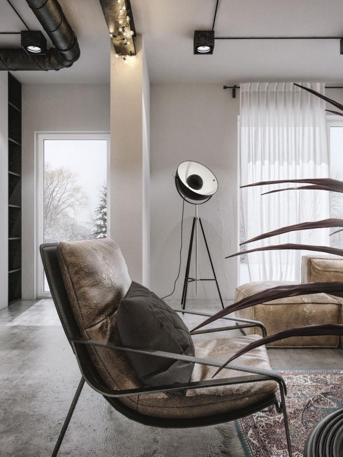 exemple de deco industrielle dans un salon blanc avec tuyaux noirs, idée éclairage de plafond avec guirlande lumineuse