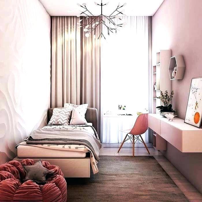 Petite chambre pour enfant fille, chambre 9m2, astuce rangement chambre étroite nordique style, peinture murale rose