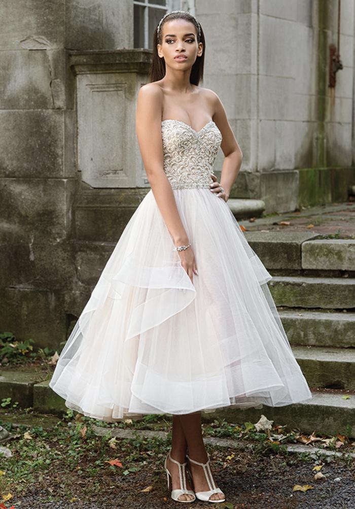 Mi longue robe bustier jupe tulle volume, princesse robe de mariée, magasin robe de mariée inspiration en ligne