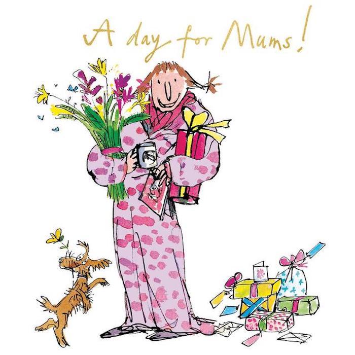 Mère cadeaux et chien, carte fête des mères, image fête des mères, carte de voeux 2019, carte dessin pour la mère