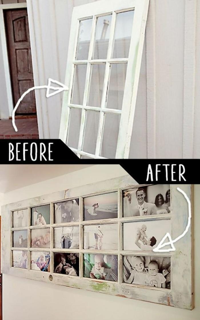 décoration murale avec vieille fenêtre, photos fixés à la place des vitres sur une porte vintage blanche