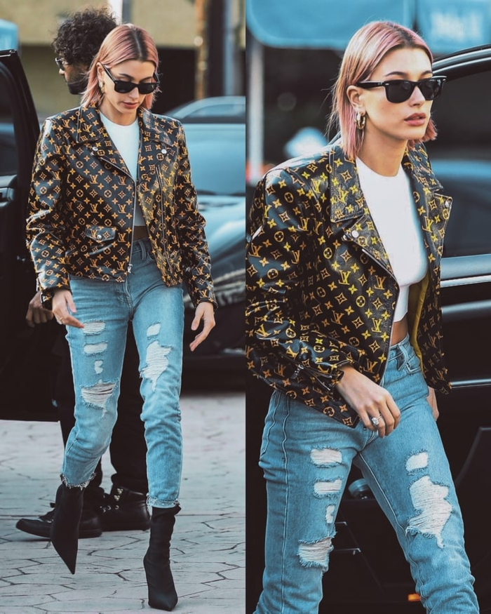 veste noire logos, jeans déchirés, vetements style casual femme, mode printemps 2019